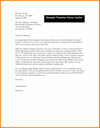Sample Education Cover Letter Sample Of Application For Teaching Job In School How To