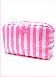 victoria s secret makeup bag pink white stripes