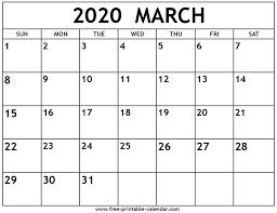 2020 calandars march 2020 calendar free printable calendar com