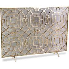 pyra modern transitional gold leaf medallion fireplace screen 789 liked on polyvore featuring