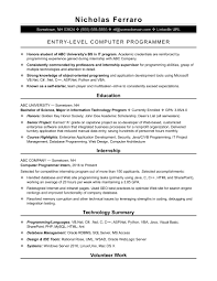 Sample Computer Programmer Resume Sample Resume For An EntryLevel Computer Programmer Monster 1