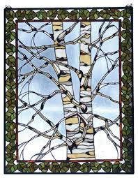 birch tree in winter window panel rustic stained glass panels by ladder