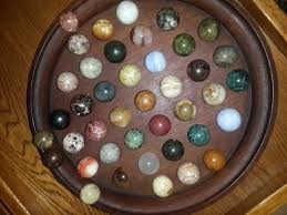 Wooden Game With Marbles Solitaire Wooden Game SemiPrecious Gemstone Marbles 100mm with 100 58