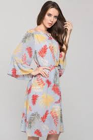Blue <b>Autumn</b> Leaf Print <b>Off the Shoulder</b> Midi Dress – OwnTheLooks