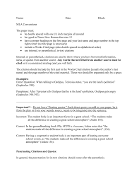 Mla Parenthetical Citation Worksheet Conventions For Using