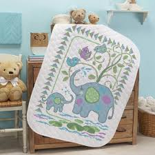 Baby by Herrschners® Pre-Quilted Elephant Friends Baby Quilt ... & Baby by Herrschners® Pre-Quilted Elephant Friends Baby Quilt Stamped Cross-Stitch  Kit Adamdwight.com