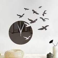 new diy seagulls acrylic mirror wall stickers wall clock stickers