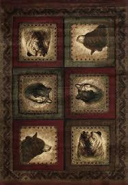 bears and wolf burdy rug