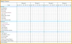 Daily Chore Chart Template Chore Chart Template Free Printable