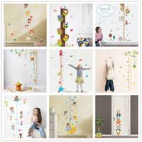Cute Animals Stack Height Measure Wall Stickers Decal Kids Vinyl Wallpaper Mural Baby Girl Boy Room Growth Chart Stickers
