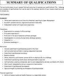 Resume Experience Summary Joefitnessstore Com
