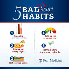 5 Bad heart Habits: Smoking, Dining out every night, Not Staying active, Getting too stressed out, Having a few too many cocktails