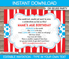 invitations to birthday party dr seuss party invitations birthday party template