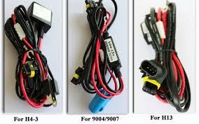 h l xenon hid light conversion kit bulbs ballast h1 h3 h4 h7 h11 bi xenon relay wiring harnesses are used h4 3 9007 3 and h13 3 bi xenon bulbs