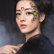2pcs lot halloween funny face sticker flower love leaf makeup eye stickers performing arts temporary