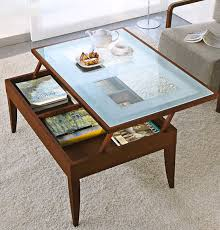 ... Brown Modern Glass Lift Top Coffee Table Top View In Living Room ...