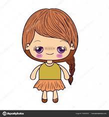 カワイイのカラフルなシルエットでかわいい女の子の髪を編みこみ