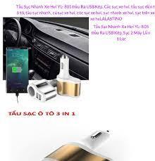 Tẩu Sạc Nhanh Xe Hơi YL- 805 Đầu Ra USB Kép, Cốc sạc xe hơi, tẩu sạc điện  thoại ô tô, tẩu sạc nhanh, củ sạc xe hơi, cóc sạc xe hơi,
