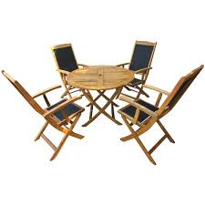 acacia wood round table 4 textilene armchairs dining set