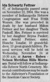 Obituary for Ida Schwartz Fettner (Aged 87) - Newspapers.com