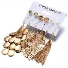 <b>6 Pairs/Sets Vintage</b> Gold Leaves Long Tassel Pearl Stud Earrings ...