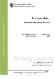 international marketing research assignment sample