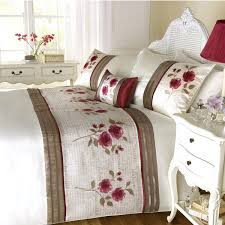 33 crafty design red and cream duvet cover bed sets embroidered home fl luxury covers in white with end table also