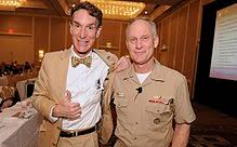 Nye with the Chief of Naval Research Rear. Adm. Nevin Carr following the  presentation of a