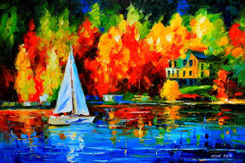 ship landscape modern art painting