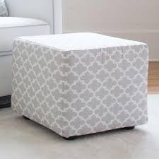 french gray quatrefoil cube ottoman  carousel designs