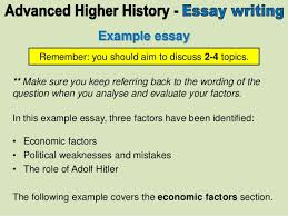 main section advanced higher history essay  4 example essay