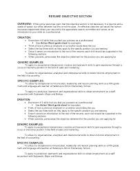 Good Generic Objective For Resume Objective Section Of Resumes What