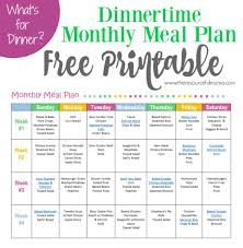 family meals month monthly meal plan for dinner free printable menu planning