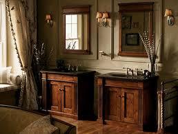 country rustic bathroom ideas. Double Bathroom Vanities Under Framed Mirror And Wall Sconces Also Laminate Floor In Country Rustic Decor Ideas Y