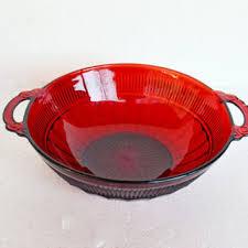 vintage ruby red glass bowl vintage anchor hocking depression