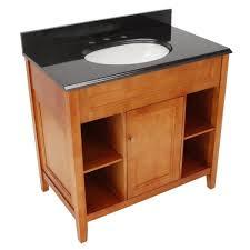 h vanity in rich cinnamon with granite vanity top in black yow 528269