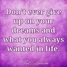Don T Give Up On Your Dreams Quotes Best of Don't Ever Give Up On Your Dreams And What You Always Wanted In Life