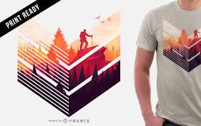 Hiking T Shirt Design Colorful Hiking T Shirt Design Vector Download