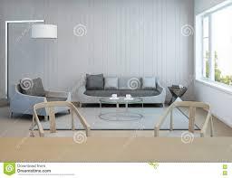 Woonkamer En Eetkamer In Modern Huis Met Witte Houten Muur Stock