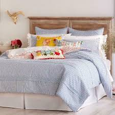 details about the pioneer woman ticking stripe duvet cover blue full queen bedding cotton new