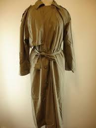 womens sz 10 anne klein ii rainwear trench coat cotton khaki long belted liner
