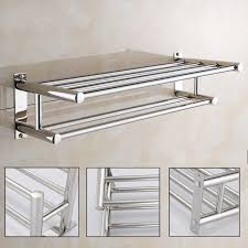 stainless steel double towel rack wall
