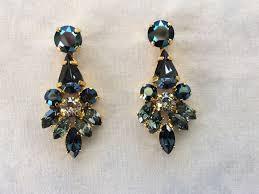 swarovski navy blue crystal dangle bridal statement earrings images of