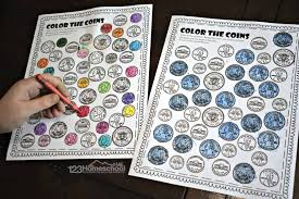 Our christmas coloring sheets are a brilliant free resource for teachers and parents to use in class there is a mix of difficulty, from cute pictures for toddlers and preschoolers to more detailed designs printable christmas coloring page pdfs. Free Printable Color The Coin Money Worksheets