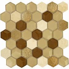 glass and stone tile backsplash new hexagon gold glass and stone hexagon tile glossy polished qls