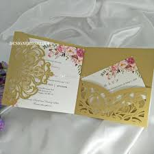 gold fl trifold pocket wedding invitations with rsvp card laser cut invitation cards for sweet 15th bridal shower quince invite 50th wedding