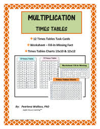 Times Tables Multiplication Facts Charts Task Cards Worksheet