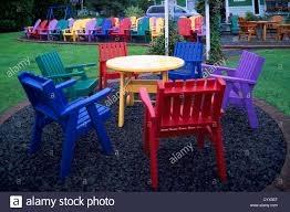 brightly painted furniture. Nova Scotia, Canada - Colorful Painted Wood Patio Furniture And Adirondack Chairs For Sale, Made By Local Chair Maker Brightly T