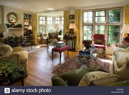 Period Living Room Traditionally Furnished Period House Sitting Room Stock Photo
