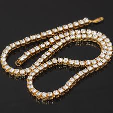 whole bling bling iced out tennis chain 1 row necklaces luxury brand gold color men women